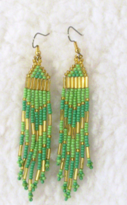 Lime green and gold earrings, by Tam's Jewelry