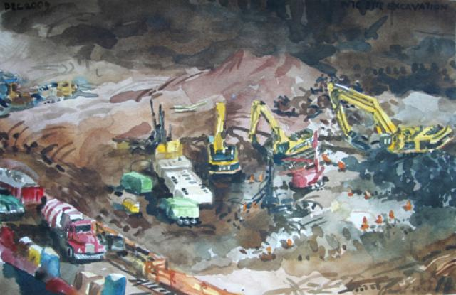 Courtesy: David Ortega 911memorial.og Description: Site excavation continued in early 2010 on WTC Tower 3. Dimensions: 14x9 Materials: Watercolor