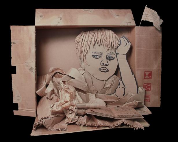 """Courtesy: Golzadartblog.com The American Dream Corrugated Cardboard 122cm x 89cm x 56cm = 48""""x 34"""" x 22"""" ©Ali Golzad"""