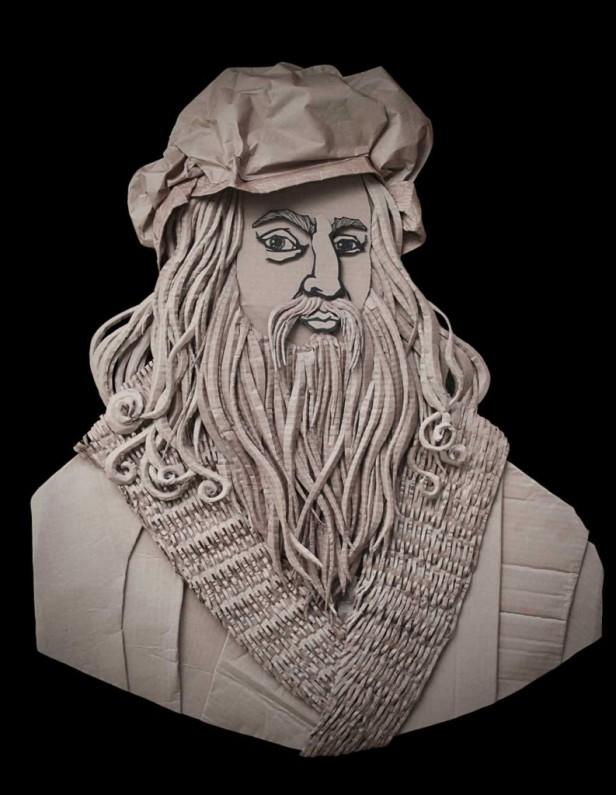 Courtesy: http://golzadartblog.com Leonardo da Vinci ©2014 golzad Recycled, Corrugated Cardboard 99cm x 79cm (39″x31″)