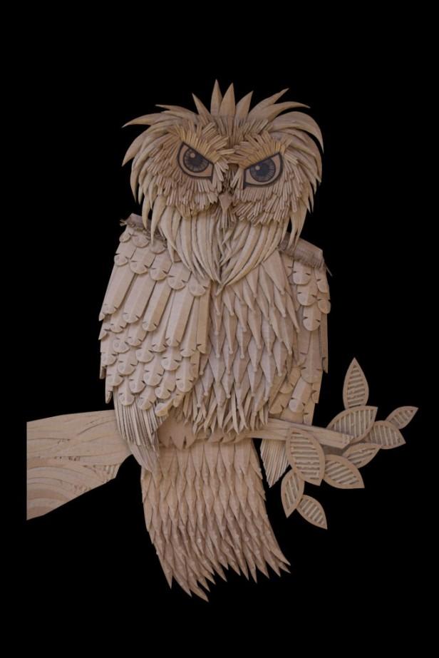 Courtesy: Golzadartblog.com Owl 0.2 ©golzad Recycled, Corrugated Cardboard 81cm x 62cm x 4cm (32″ x 24.5″ x 1.5″)